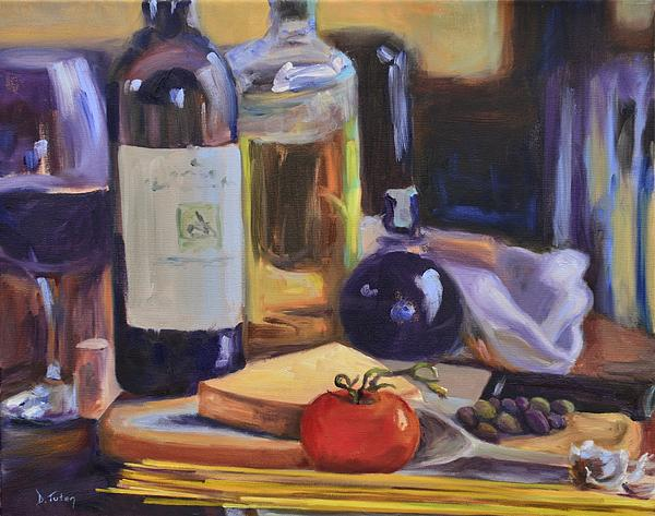 Italy Painting - Italian Kitchen by Donna Tuten