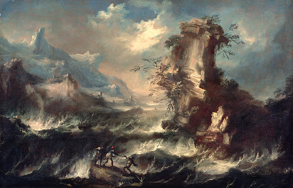 Cliff Painting - Italian Seascape With Rocks And Figures by Marco Ricci