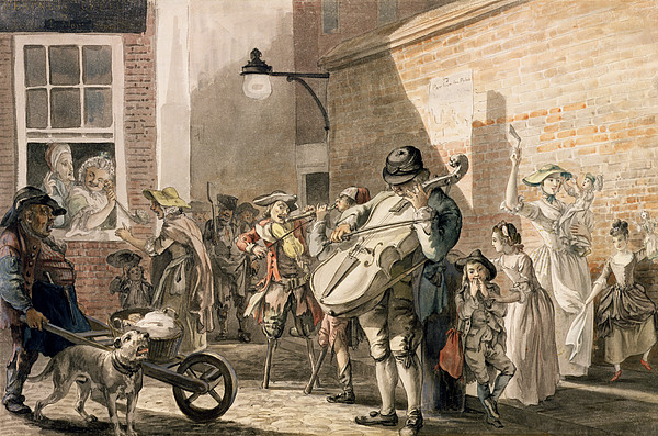Musician Drawing - Itinerant Musicians Playing In A Poor by Paul Sandby