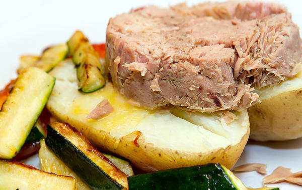 Baked Photograph - Jacket Potato With Tuna Filling by Fizzy Image