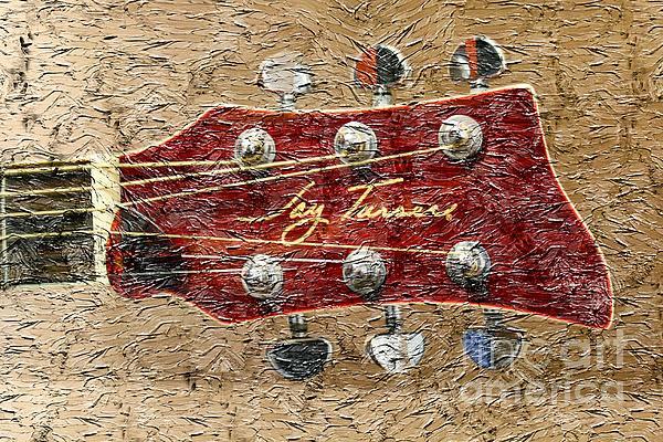 Digital Painting Photograph - Jay Turser Guitar Head - Red Guitar - Digital Painting by Barbara Griffin