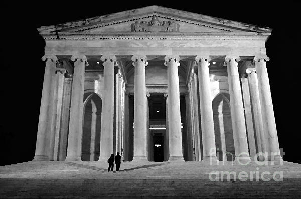 American Mixed Media - Jefferson Monument At Night by Lane Erickson