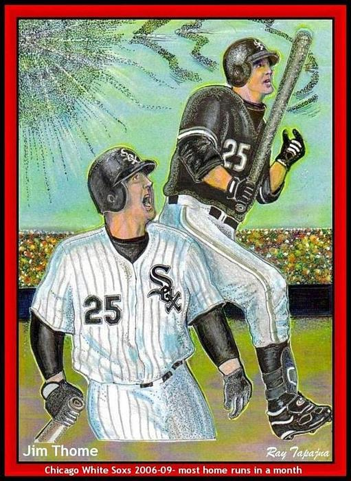 Jim Thome Mixed Media - Jim Thome Chicago Power Hitter by Ray Tapajna