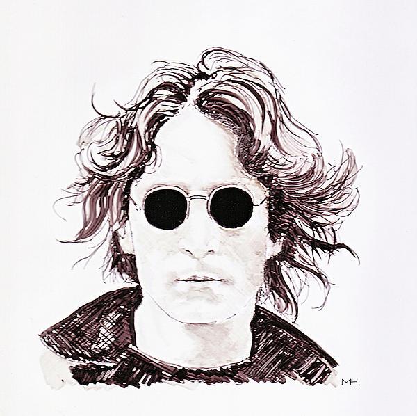 Portrait Drawing - John Lennon by Martin Howard