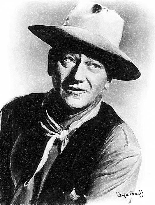 John Wayne Drawing - John Wayne by Wayne Pascall