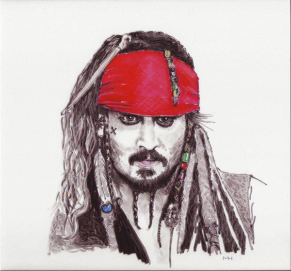 Portrait Drawing - Johnny Depp As Jack Sparrow by Martin Howard