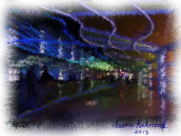 Neon Lights Digital Art - Journey Through The Neon Hallway - Chicago Ohare by Naomi Richmond