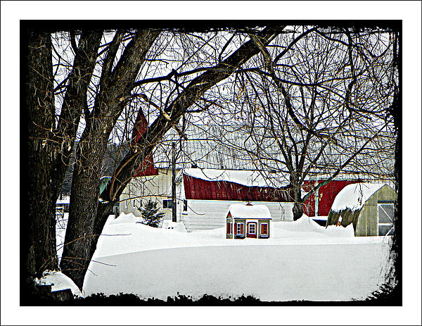 Red Barn Buildings Playhouse Winter Snow Tree Farm Country  Photograph - Just A Farm by Dianne  Lacourciere