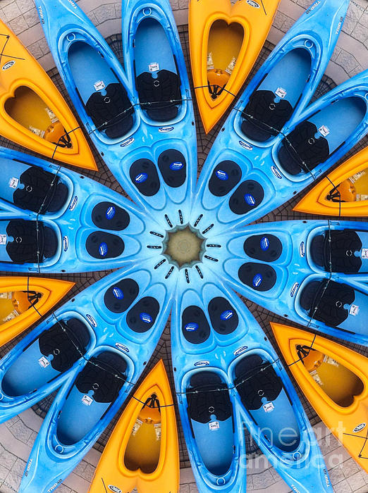 Boat Digital Art - Kaleidoscope Canoes by Amy Cicconi