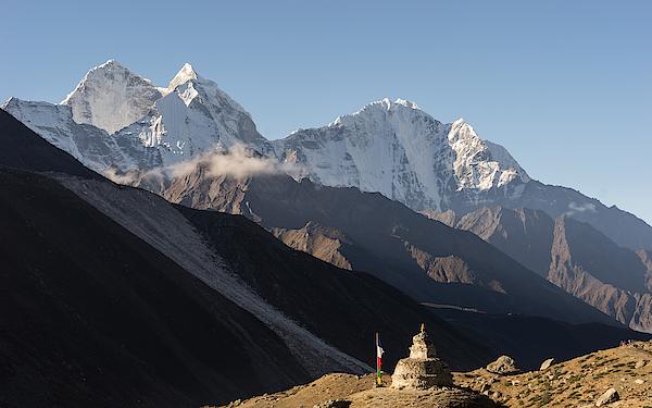 Kantega Mountain Peak And Pagoda At Dingboche Village, Everest Region Photograph by Punnawit Suwuttananun