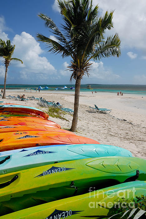 Bahamas Photograph - Kayaks On The Beach by Amy Cicconi