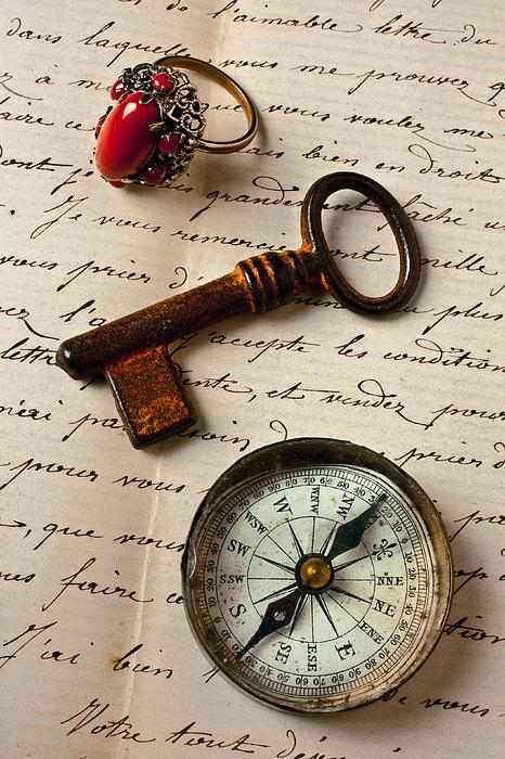 Ring Photograph - Key Ring And Compass by Garry Gay