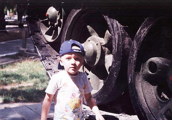 Kid Photograph - Kid And Tank. by Vitaliy Shcherbak