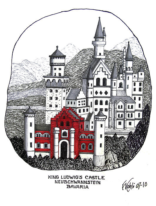 Historic Buildings Drawings Drawing - King Ludwigs Castle  by Frederic Kohli