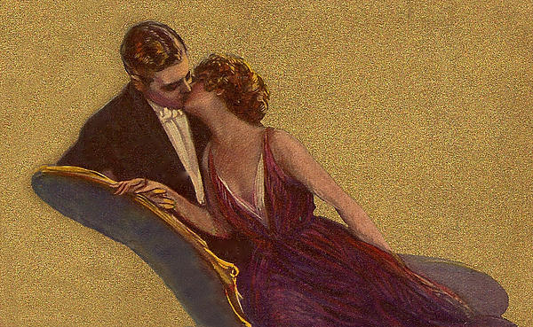 Kissing Digital Art - Kissing On The Chaise-longue Valentine by Sarah Vernon