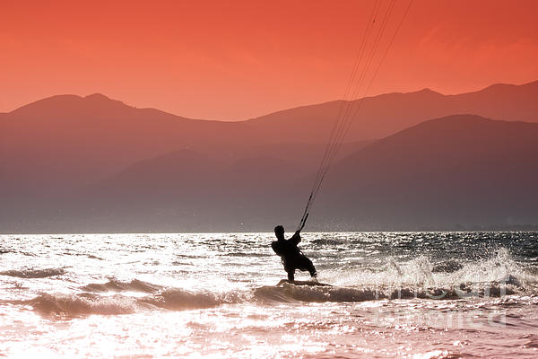 Action Photograph - Kite Surfing by Gabriela Insuratelu