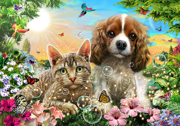 Adrian Chesterman Digital Art - Kitten And Puppy by Adrian Chesterman