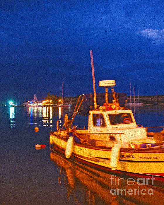Kos Island Digital Art - Kos Fisherman Boat by Nur Roy