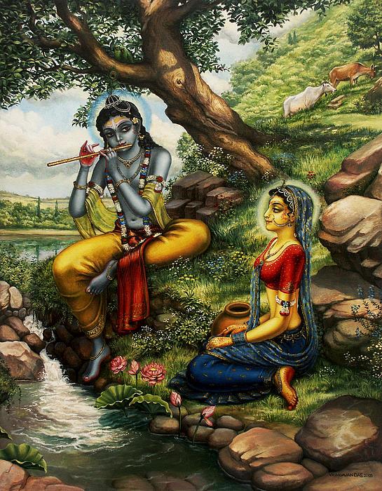Krishna Painting - Krishna With Radha by Vrindavan Das