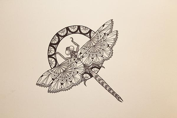 Dragonfly Drawing - Lace Dragonfly by Jodi Harvey-Brown