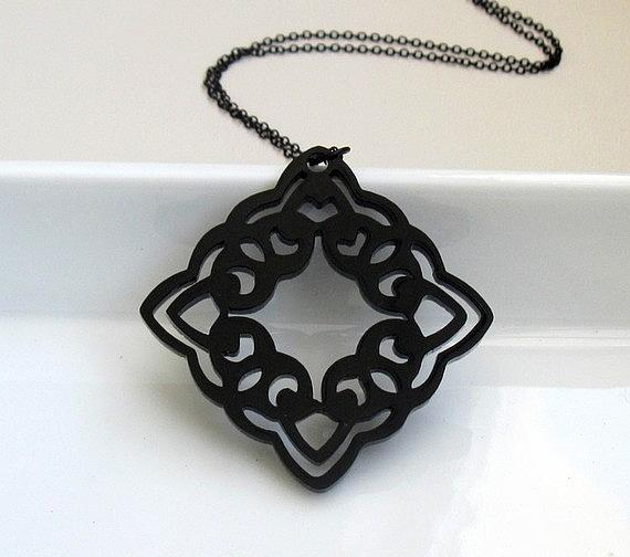 Jewelry Jewelry - Lacy Art Deco Rhombus Pendant Necklace by Rony Bank