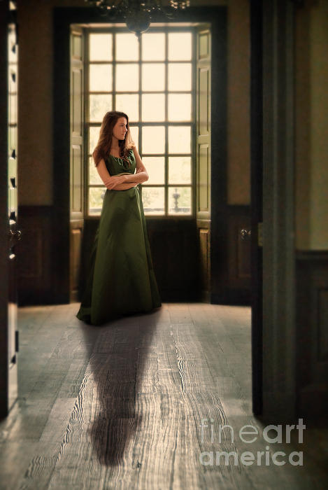 Beautiful Photograph - Lady In Green Gown By Window by Jill Battaglia