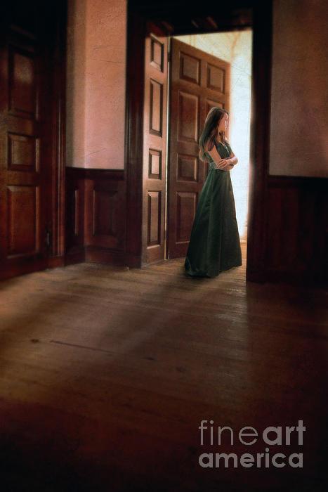 Beautiful Photograph - Lady In Green Gown In Doorway by Jill Battaglia