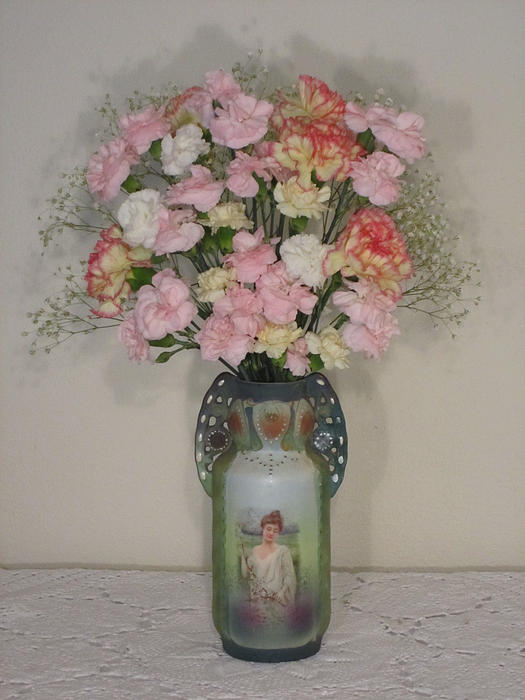 Pink Flowers Photograph - Lady On Vase With Pink Flowers by Good Taste Art