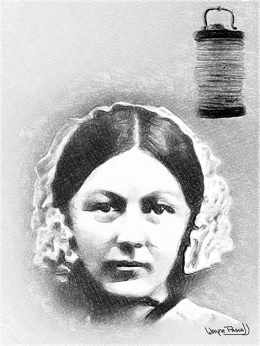Florence Nightingale Drawing - Lady With The Lamp - Florence by Wayne Pascall