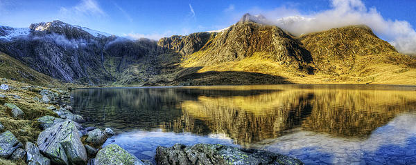 Clouds Photograph - Lake Idwal Panorama by Ian Mitchell