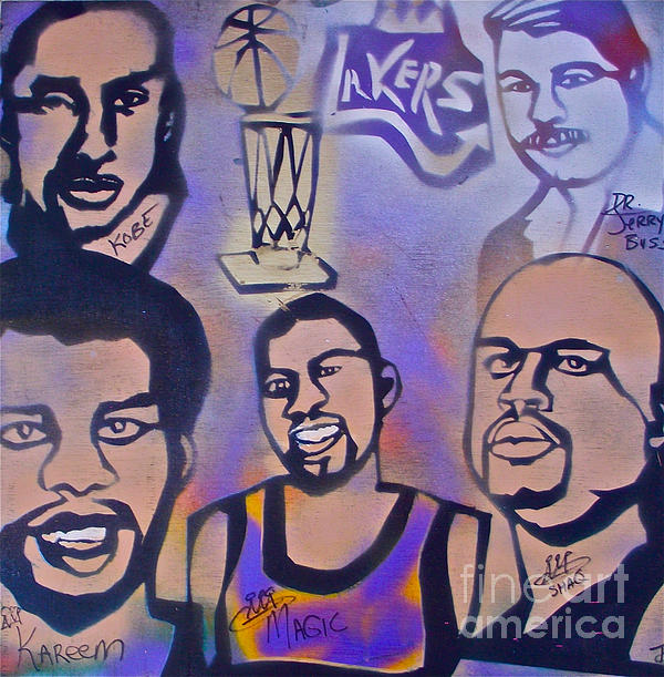 Kobe Bryant Painting - Lakers Love Jerry Buss 1 by Tony B Conscious