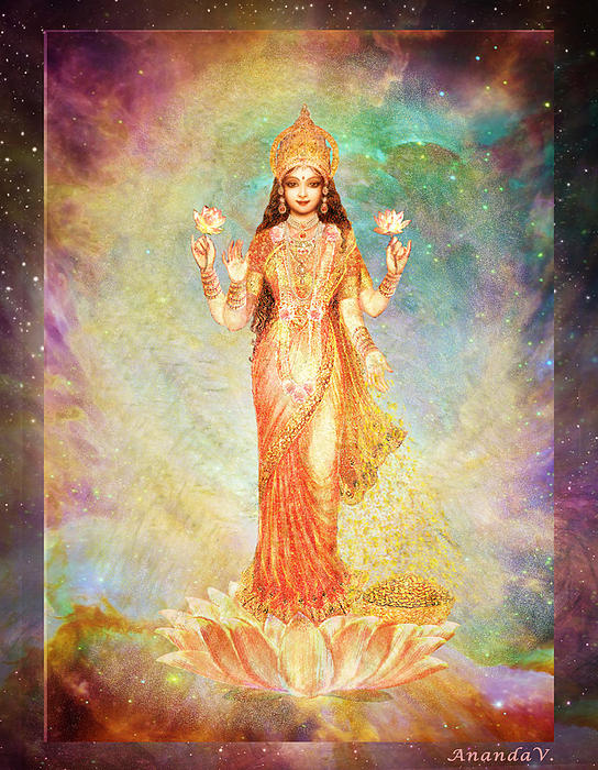 Goddess Painting Mixed Media - Lakshmi Floating In A Galaxy by Ananda Vdovic