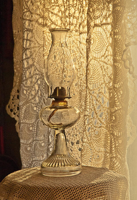 Coal Oil Lamp Photograph - Lamp By The Window by Lena Wilhite