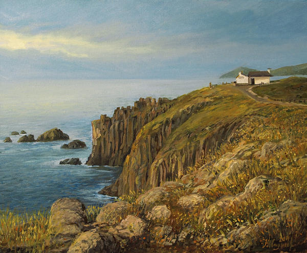 Artistic Painting - Lands End In Cornwall by Kiril Stanchev