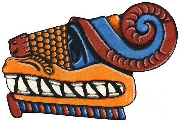 Serpent Painting - Le Serpent - Quetzalcoatl by Nora Blansett