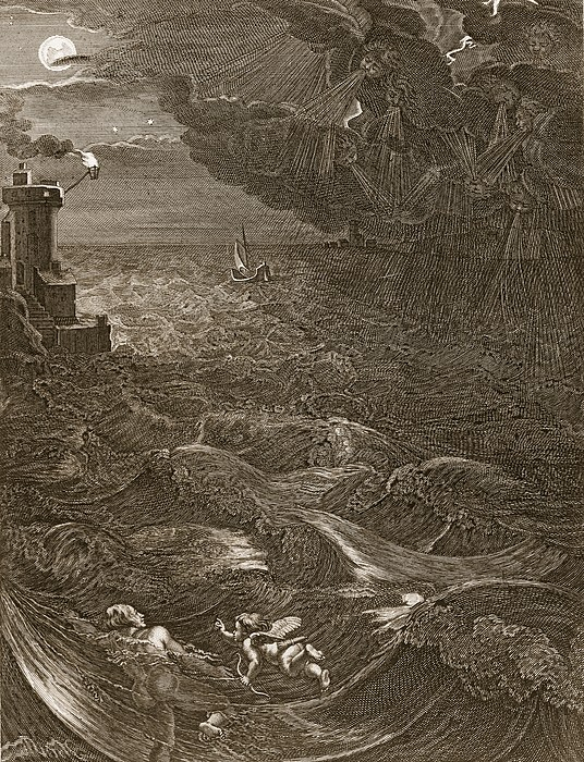 Classical Drawing - Leander Swims Over The Hellespont by Bernard Picart