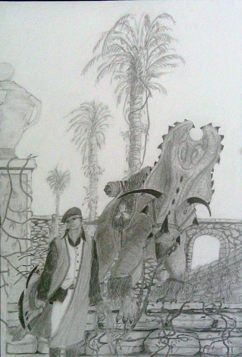 Fantasy Drawing - Leaving Gamorra by George Harrison