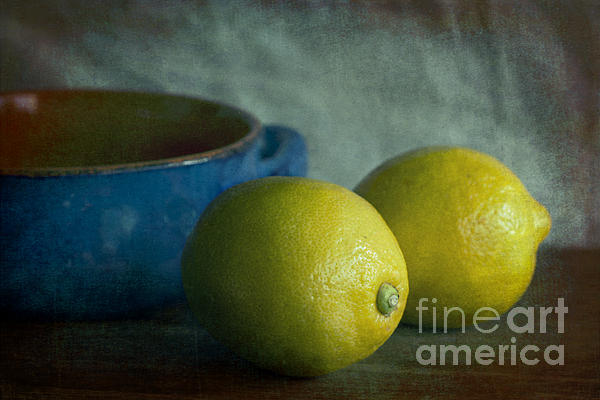 Lemon Photograph - Lemons And Blue Terracotta Pot by Elena Nosyreva