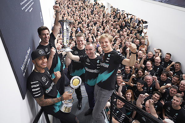 Lewis Hamilton Celebrates F1 Constructors Championship At Mercedes Factory Photograph by Steve Etherington