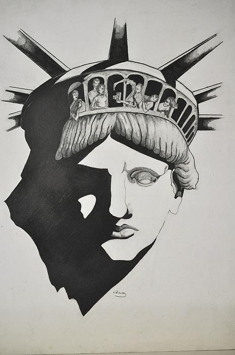 People Drawing - Liberty Head With People by Glenn Calloway