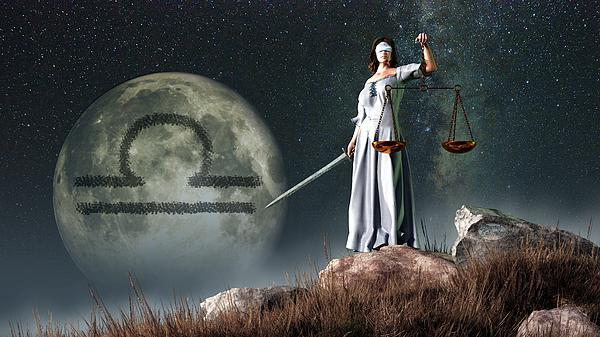 Libra Digital Art - Libra Zodiac Symbol by Daniel Eskridge