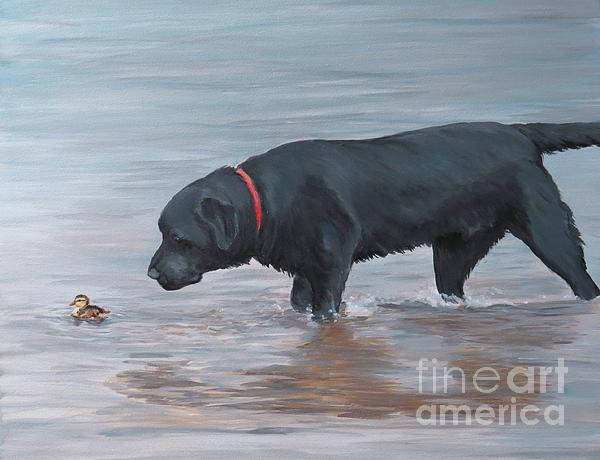 Black Lab Painting - Life Guard by Charlotte Yealey