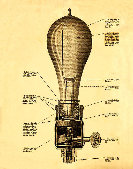 Light Photograph - Lightbulb Patent by Bill Cannon