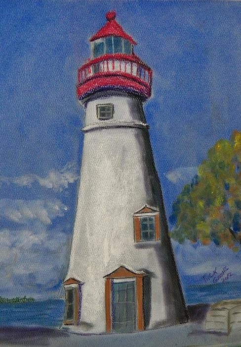 Ohio Painting - Lighthouse At Marblehead by Richard Goohs