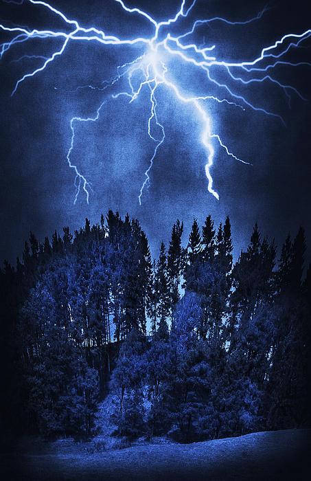 Blue Photograph - Lightning by Svetlana Sewell