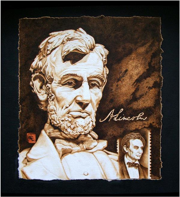 Pyrography Pyrography - Lincoln Memorial And The Younger by Cynthia Adams