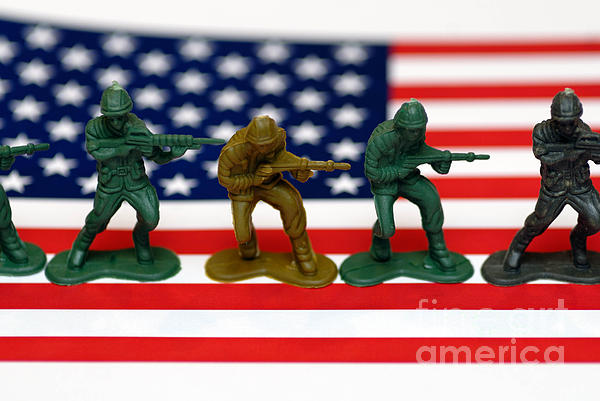 Aggression Photograph - Line Of Toy Soldiers On American Flag Shallow Depth Of Field by Amy Cicconi