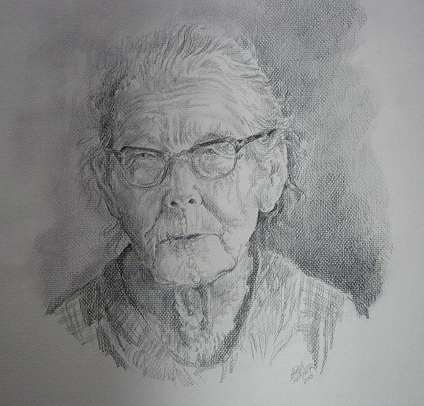 Portraiture Drawing - Little Granny Smith by Gloria Turner