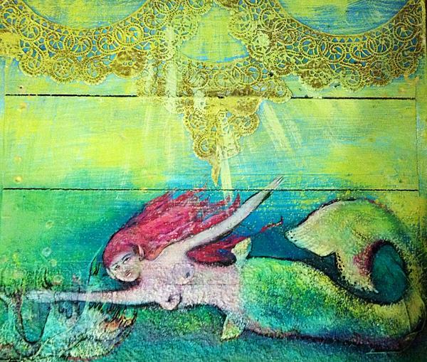 Mermaid Painting - Little Mermaid  by Michaela Kraemer