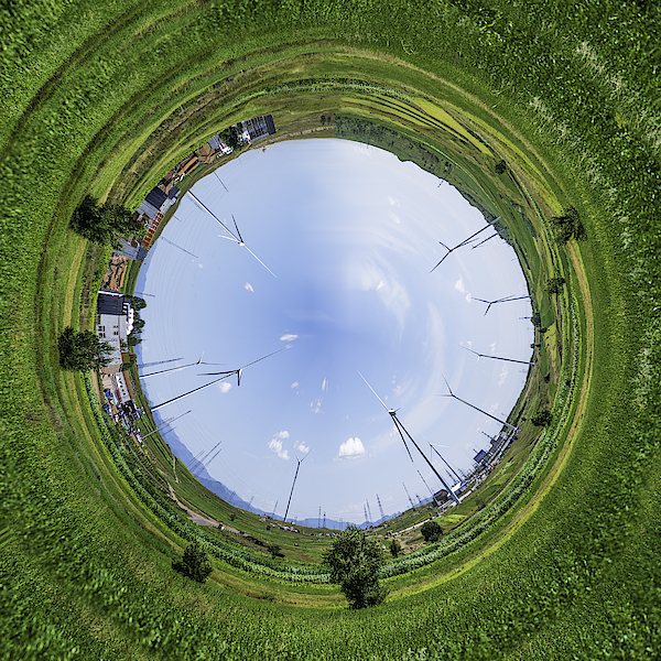 Little Planet Effect, Grassy Field Photograph by Copyright Xinzheng. All Rights Reserved.